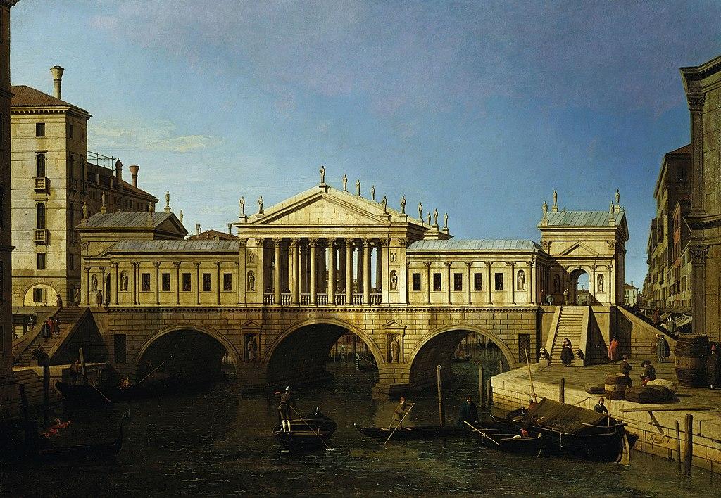 Projet de reconstruction du Pont du Rialto à Venise d'après Palladio - Toile de Canaletto