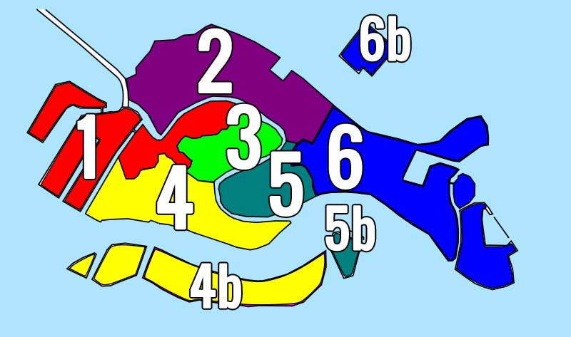 Carte des quartiers de Venise d'apres le modèle de Giovanni Fasano