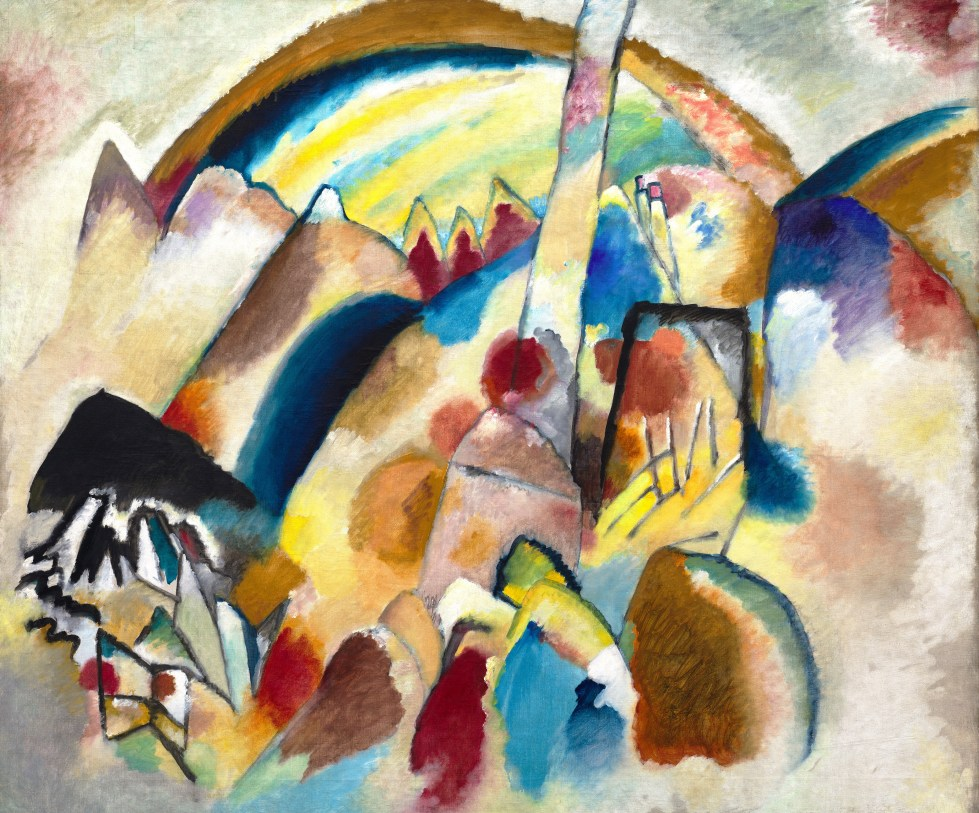 """Tableau de Vassily Kandinsky """"Landscape With Red Spots"""" (1913) au musée Collection Peggy Guggenheim à Venise"""