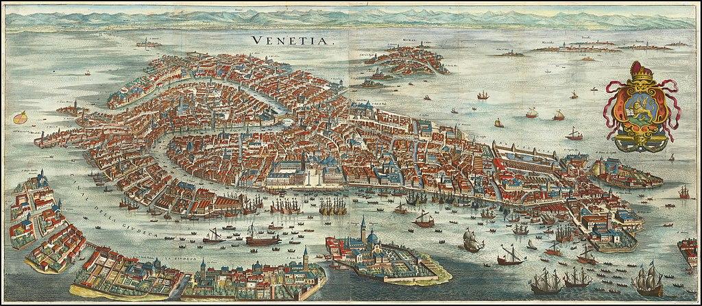 Histoire : Carte de Venise en 1636 de Matthäus Merian.