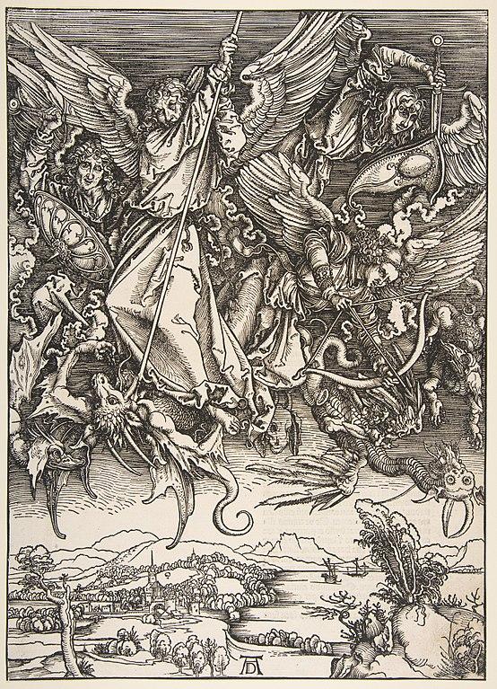Musée Correr à Venise : Saint Michel combattant le dragon, de l'Apocalypse, Albrecht Dürer (1511).