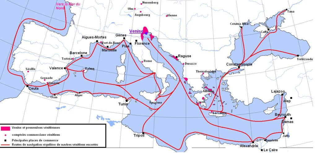Routes commerciales de Venise au Moyen-age. Image d'Aliesin / Wikipedia.