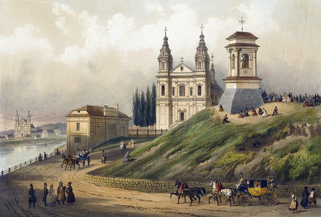 Eglise des Jésuites à Vilnius - Illustration de Jean Kasimir Wilczinski (1848 - 1863)