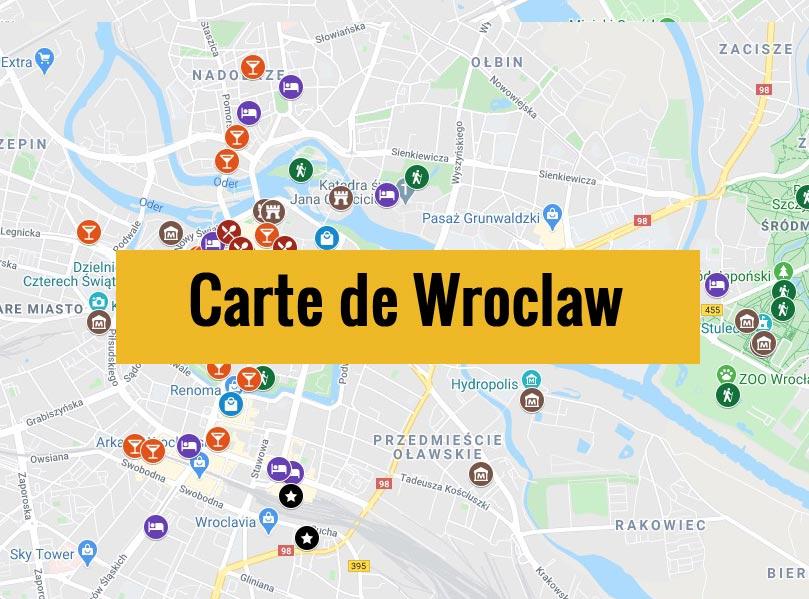 Carte de Wroclaw en Pologne avec tous les lieux du guide